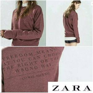Zara Pullover Sweatshirt Burgundy
